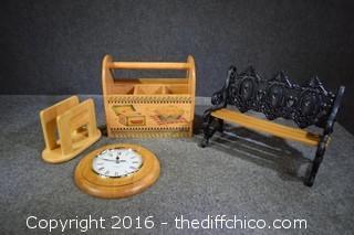 Clock, Napkin Holder, Organizer & Bench