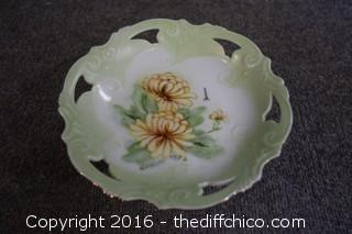 Hand Painted & Signed Pedestal Dish