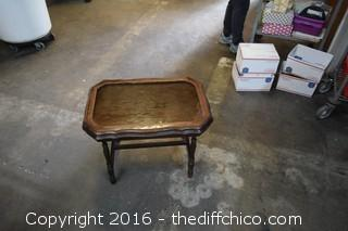 Vintage Table w/Glass Tray Top