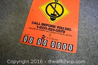 Metal Warning Buried Line Sign