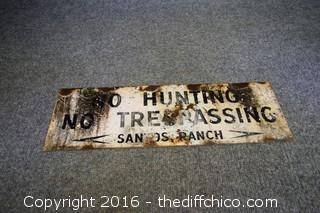 Metal No Hunting  No Trespassing Sign