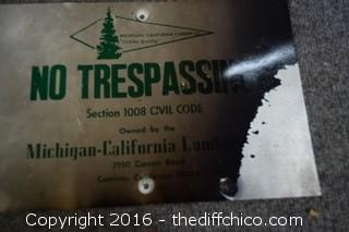 Metal No Trespassing Sign