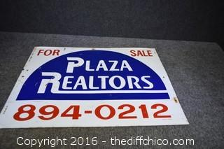 Metal Plaza Realtors Sign - 2 Sided