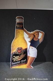 Metal Miller Draft Beer Sign