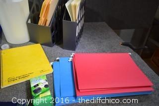 Office Lot - Binders, Shelf, Waste Basket & More