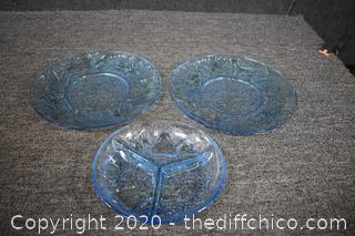 3 Pieces of 3 Glass Dishware