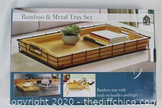Mesa Bamboo & Metal Tray Set with Built-In Handles and Legs
