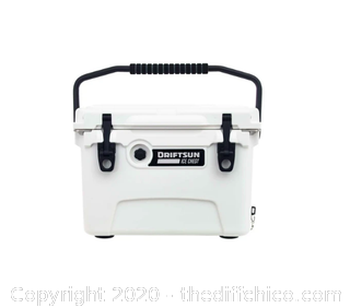 Driftsun 20 Quart Performance Ice Chest - Insulated Rotomolded Cooler - White (J1)