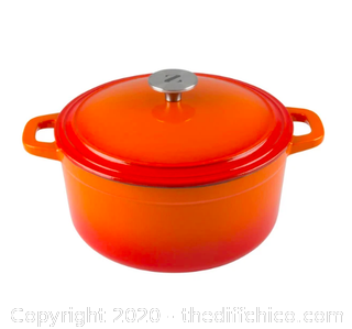 Zelancio 6 Quart Enameled Cast Iron Dutch Oven with Lid - Orange (J3)