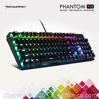 TECWARE Phantom 104 Key Backlit Mechanical Keyboard RGB LED Outemu + Switches