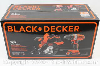 NEW SEALED BLACK and DECKER Saw Drill Driver Combo Set Carry Bag 20v Cordless Electric Tool
