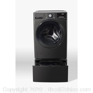 *NEW* ($279) Laundry Pedestal with Storage Drawers for Washers and Dryers in Black Steel 27 in.