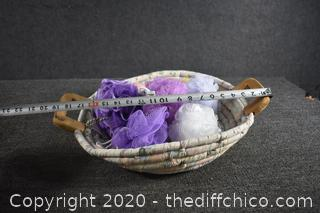 Hand Made Basket with Colorful Body Scrubbers