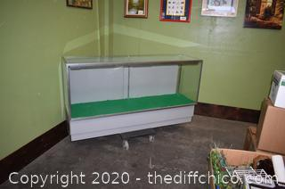 Glass Display Cabinet plus 2 glass shelves-need to be rewired