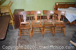 4 Oak Press Back Chairs