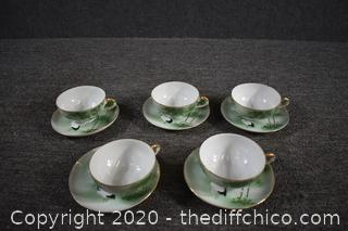 5 Sets of Hand Painted Cup and Saucers