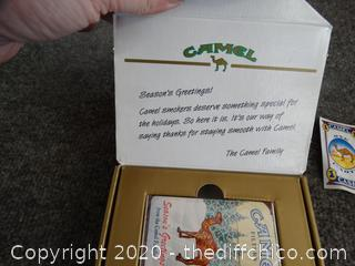 Camel Seasons Greetings Cigarettes Sealed And Camel Lighter