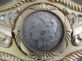 1897 Morgan Silver Dollar Belt Buckle