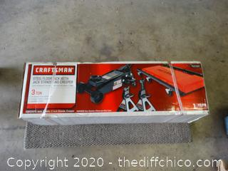 Brand New In Box Steel Floor Jack 3 ton With Jack Stands And A Creeper
