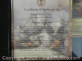 Thomas Kinkade Beyond Autum Gate With COA