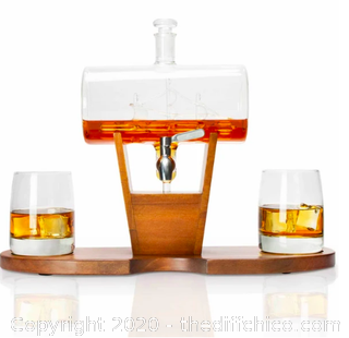 Atterstone Whiskey Cylinder Sail Boat Decanter Set (J92)