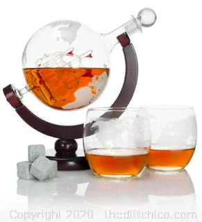 Atterstone Globe Whiskey Decanter Set (J94)