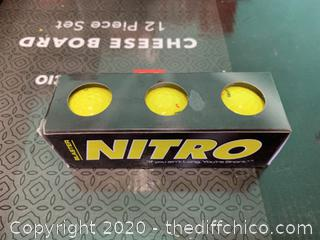 Nitro Blaster Golf Balls - Pack of 3 Balls - Yellow (J216)