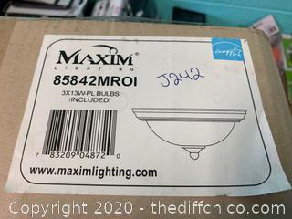 Maxim 85842MROI 3 Light 16 inch Oil Rubbed Bronze Flush Mount Ceiling Light (J242)