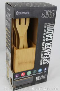 NEW Speaker Caddy By Thyme & Table 6PC Bamboo Utensils w Built-in Bluetooth Speaker