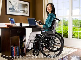"Invacare 9000 XT ($389) High Performance Lighter Weight Wheelchair, With Desk Length Arms and T94HAP Elevating Legrests, 20"" Seat Width"