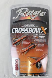 BRAND NEW Rage Crossbow 2-Blade 2 inch 100 grain Braodhead 3pk 00301 +1 Practice Head