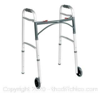 Drive Folding Walker Standard Medical Mobility Aluminum Wheels Rolling Silver