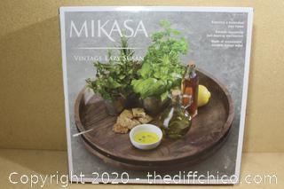 "NEW Mikasa Vintage Lazy Susan Rotating Tray 17.75"" Dia ~ Sustainable Mango Wood"