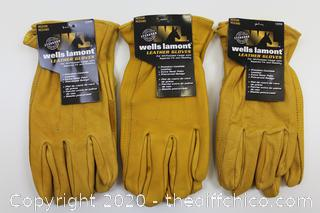 3-PACK OF Wells Lamont Men's Medium Premium Leather Work Gloves NEW