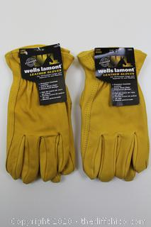2-PACK OF Wells Lamont Men's LARGE Premium Leather Work Gloves NEW