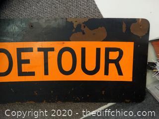 Wood  Detour Sign