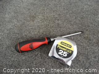 Mac Screw Driver & Stanley Tape Measure