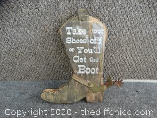 Wood Boot Sign