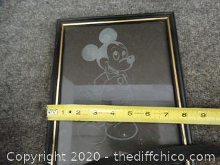 Mickey Mouse Glass Etching In Frame
