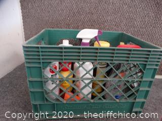 Crate Of Cleaning Stuff