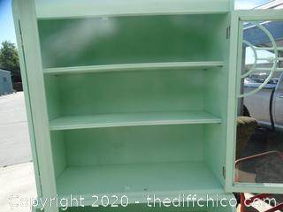 Light Green Hutch With Glass Doors