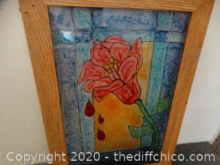 Faux Stained Glass Rose Picture