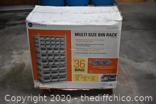 NIB 36 Multi Size Bin Rack