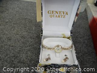 Geneva Quartz Watch With Earrings