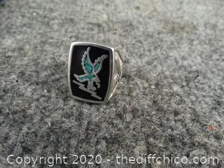 925 Silver Eagle Ring Size 9