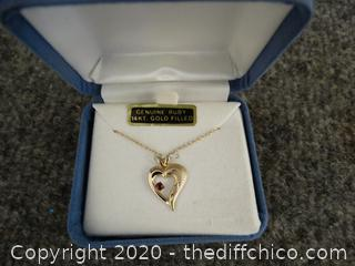 Ruby Gold Filled Heart Necklace