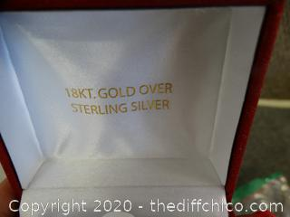 18KT Gold over Sterling Silver Heart Necklace