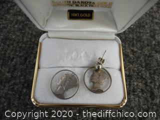 1941 Mercury Dime Coin  Earrings 1 needs REPAIR