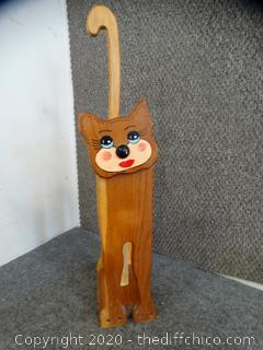 Wooden Cat Toilet Paper Holder