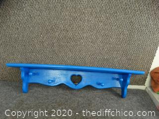 Blue Wooden Shelf & Coat Rack